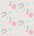 tender pink floral pattern with flowers and leaves vector image vector image