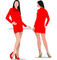 two women in red vector image