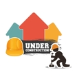 under construction man builder helmet hammer brick vector image