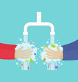 washing hands under the faucet with soap hygiene vector image vector image