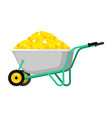 wheelbarrow and gold coin golden treasures in vector image