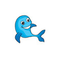 funny dolphin cartoon marine animal sign vector image