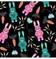 seamless black background with rabbits vector image