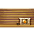 A fireplace near the wooden wall vector image vector image