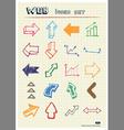 arrows web icons set drawn color pencils vector image