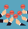 bidder hands holding auction paddle buyer vector image vector image