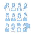 blue line avatars various male and female vector image vector image