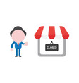 businessman character make hand stop sign with vector image
