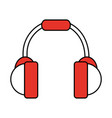 color silhouette image of headset stereo sound vector image vector image