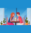 couple drinking coffee through straw together vector image vector image