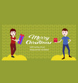 couple holding gift boxes for each other happy new vector image vector image