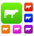 cow set color collection vector image vector image