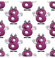 Cute happy waving number 8 seamless pattern vector image vector image