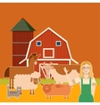 Farm banner with flat animals3 vector image vector image