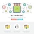 Flat line Business Concept Web Site Header vector image vector image