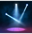 Floodlights spotlights illuminates wooden scene vector image vector image