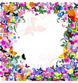 frame floral pattern with butterflies vector image vector image