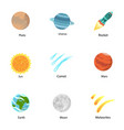 galaxy planet icon set flat style vector image vector image