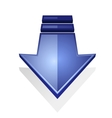 glossy blue icon an arrow pointing down vector image