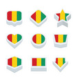 guinea flags icons and button set nine styles vector image vector image