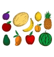 Healthy and fresh fruits colored sketch icons vector image vector image