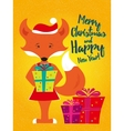 Holiday card with fox vector image