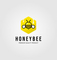 honeybee hexagon logo village farm design vector image