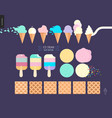 ice cream scoops in waffle cones set on a dark vector image