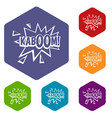 kaboom explosion icons set hexagon vector image vector image