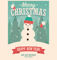 merry christmas card with snowman on winter vector image vector image