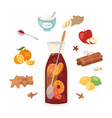 mulled wine ingredients recipe christmas vector image vector image