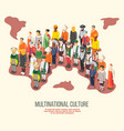 multinational culture isometric composition vector image vector image