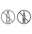no alcohol line and glyph icon drink and warning vector image vector image