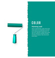 paint roller with green paint and space for text vector image