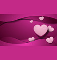 paper art love pink background template vector image