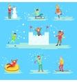 People Having Fun In Snow In Winter Set Of vector image vector image
