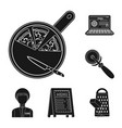 pizza and pizzeria black icons in set collection vector image vector image