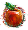 red apple painted colored artistic image vector image