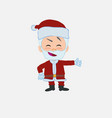 santa claus showing something in an optimistic vector image vector image