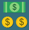 Set from coins and paper money in flat style vector image vector image