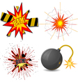 set of explosions vector image vector image