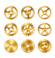 set of realistic golden gears vector image vector image