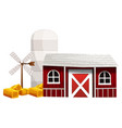 silo and barn painted in red color vector image vector image