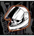 skull helmet hand drawing vector image vector image