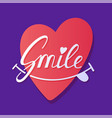 smile inspirational hand draw lettering text with vector image