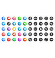 social media modern 3d and flat round icons set vector image vector image