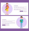 students web posters set boy holds notebook girl vector image vector image