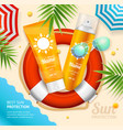sun protection ad concept card background vector image