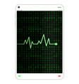 tablet with heart rate on screen vector image