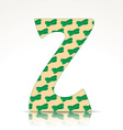 the letter z alphabet made zucchini vector image vector image